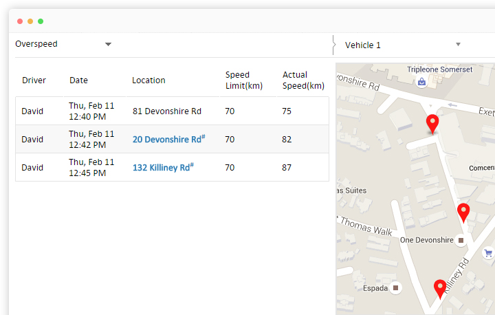 Spatial view of Overspeed report in AVLView system